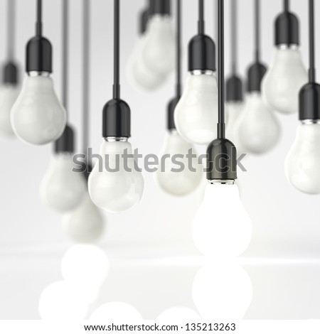 creative idea and leadership concept with growing 3d light bulb - stock photo