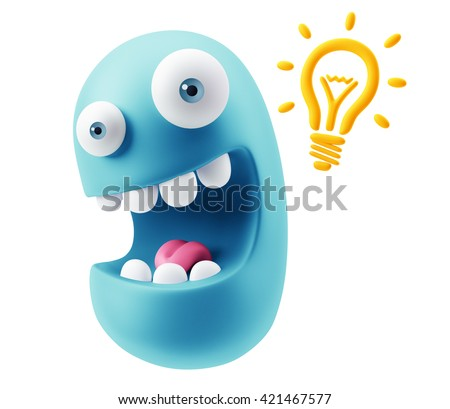 Creative Idea Emoticon Character Face Expression. 3d Rendering. - stock photo