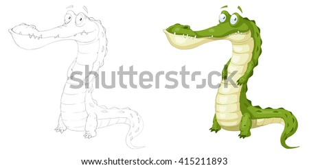 Creative Illustration and Innovative Art: Animal Set: Sketch Line Art and Coloring Book: Green Crocodile. Realistic Fantastic Cartoon Style Character Design, Wallpaper, Story Background, Card Design - stock photo