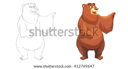 Creative Illustration and Innovative Art: Animal Set: Sketch Line Art and Coloring Book: Happy Brown Red Bear. Realistic Fantastic Cartoon Style Artwork Scene, Wallpaper, Story Background, Card Design - stock photo