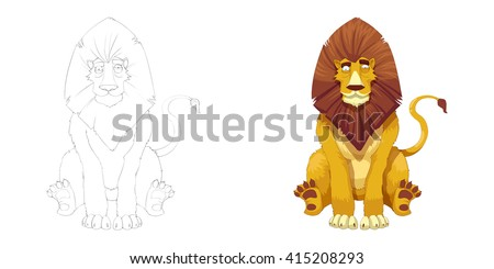 Creative Illustration and Innovative Art: Animal Set: Sketch Line Art and Coloring Book: Lion King. Realistic Fantastic Cartoon Style Character Design, Wallpaper, Story Background, Card Design  - stock photo