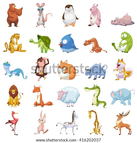Creative Illustration and Innovative Art: 25 Animals Sets isolated on White Background. Realistic Fantastic Cartoon Style Artwork Character Design Wallpaper Card Game Design Jigsaw Puzzle Design - stock photo