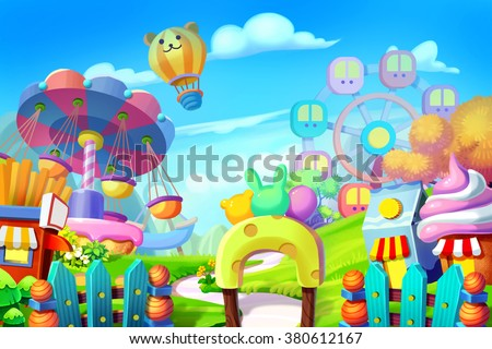 Creative Illustration and Innovative Art: Background Set: Colorful Playground, Amusement Park. Realistic Fantastic Cartoon Style Artwork Scene, Wallpaper, Story Background, Card Design - stock photo