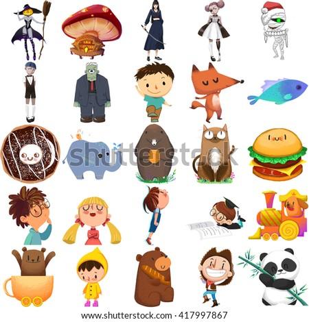 Creative Illustration and Innovative Art: Child Story Character Set 1 iSolated on White Background, boy, girl, animal, panda etc. Realistic Fantastic Cartoon Style Character Design, Story, Card Design - stock photo