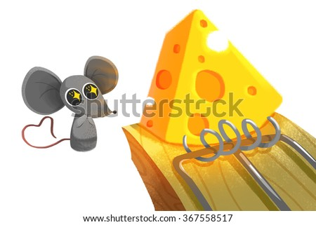 Creative Illustration and Innovative Art isolated on White Background: Little Mouse and Cheese on Mouse Trap. Realistic Fantastic Cartoon Style Artwork Scene, Wallpaper, Story Background, Card Design - stock photo