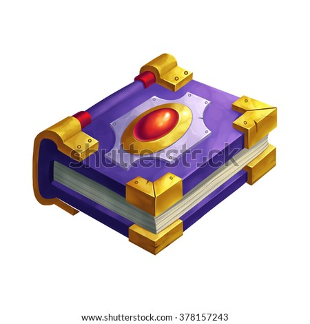 Creative Illustration and Innovative Art: Magic Book with Ruby Mounted. Realistic Fantastic Cartoon Style Artwork Scene, Wallpaper, Story Background, Card Design  - stock photo