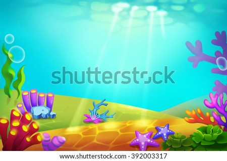 Creative Illustration and Innovative Art: Whimsical Beauty of an Unknown Underwater World. Realistic Fantastic Cartoon Style Artwork Scene, Wallpaper, Story Background, Card Design  - stock photo