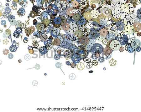 Creative illustration: many shiny steel  gearwheel, 3D illustration. A set of metallic clockwork located on a white uniform background. - stock photo