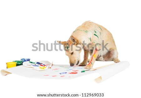 Creative jack russel terrier dog painting with its paw on a large sheet of paper from a colorful palette of paints while streaked with paint itself - stock photo