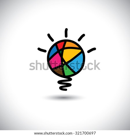 creative light bulb idea - concept graphic icon. This graphic can be used for background design for poster, flyer cover brochure, business idea, etc and represents creativity, genius, brilliance, etc - stock photo