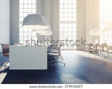 Creative loft style office studio. Trendy colors. 3d render - stock photo