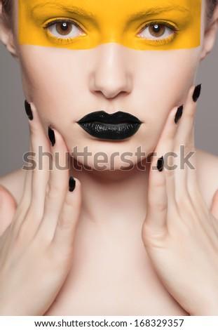 creative make-up of fashion lady, close-up shot - stock photo