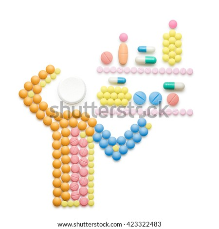 Creative medicine and healthcare concept made of drugs and pills; ill person standing in front of shelves full of pills, isolated on white. - stock photo