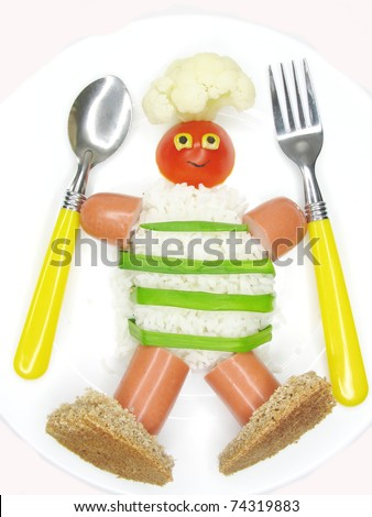 creative millet porridge garnish with sausage cook man shape - stock photo