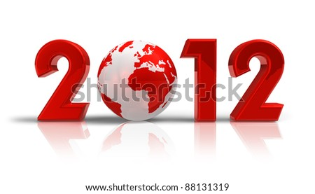 Creative 2012 New Year concept with red Earth globe isolated on white reflective background - stock photo