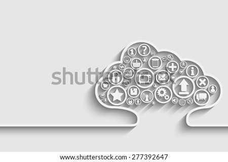Creative  of cloud with apps. Background for your design - stock photo