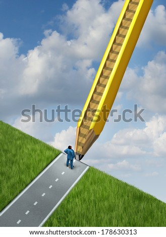 Creative opportunity and path to success as a giant pencil with upwards stairs carved in the wood as a metaphor for business  career opportunities through planning and developing a winning strategy. - stock photo
