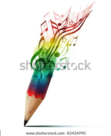 creative pencil with  music notes isolate on white - stock photo