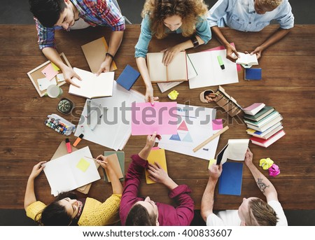 Creative People Working Together Desk Concept - stock photo