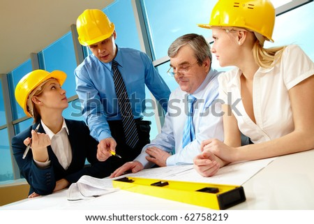 Creative photo of foreman speaking about near strategy to his business team - stock photo