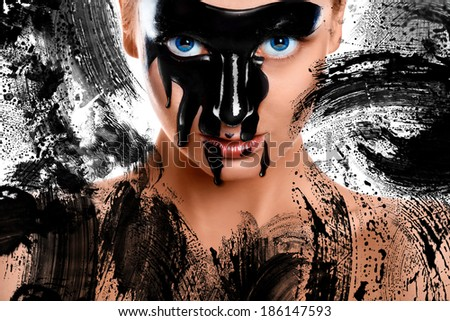 Creative photo of sexy woman with pain on face and paint strokes - stock photo