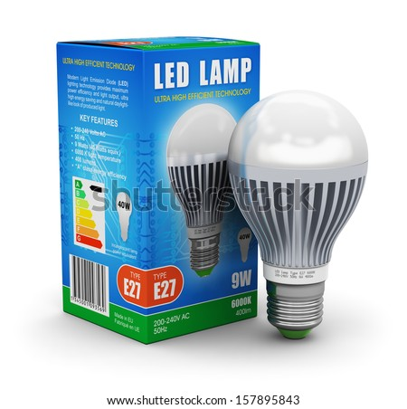 Creative power saving and energy conservation industry business ecological concept: metal LED electric lamp with color carton retail package box isolated on white background - stock photo