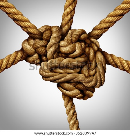 Creative process concept and creativity and the brain as a group of tangled ropes shaped as the human mind with strands of rope emerging out as an intelligence connection icon and neurology symbol . - stock photo