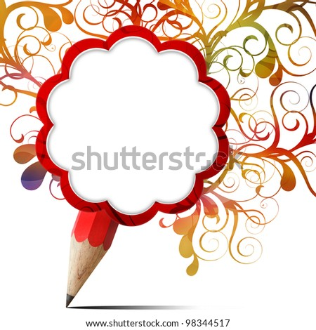 creative red pencil blank paper icon with colorful floral isolated on white - stock photo