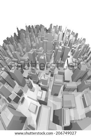 Creative render city - stock photo