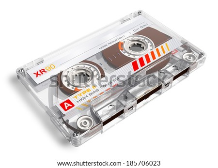 Creative retro electronics music concept: old transparent audio cassette isolated on white background - stock photo