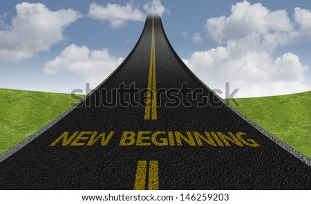 Creative road with the message - New Beginning - stock photo