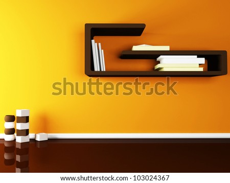 creative shelf on the wall and the vases on the floor - stock photo