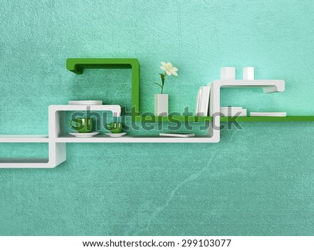 creative shelf on the wall, 3d rendering - stock photo
