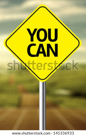 Creative sign with the message - You Can - stock photo