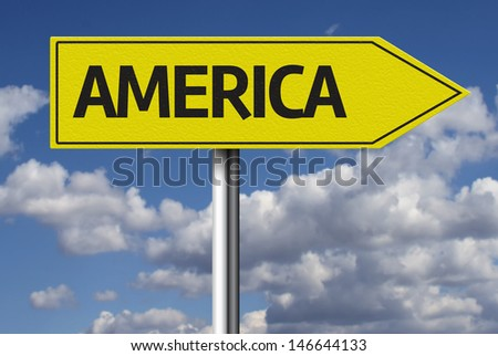 Creative sign with the text - America - stock photo