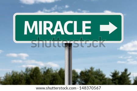 Creative sign with the text - Miracle  - stock photo