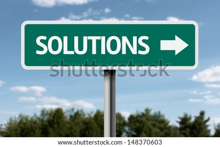 Creative sign with the text - Solutions  - stock photo