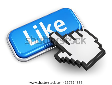 Creative social media network, internet and web communication concept: hand link selection computer mouse cursor pressing blue metal glossy button with Like text isolated on white background - stock photo