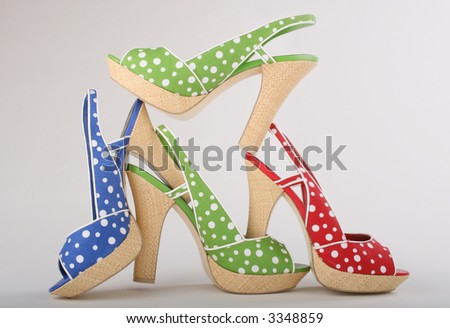creative stack of sexy summer heels - stock photo