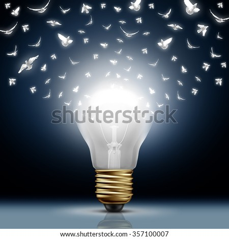 Creative start concept as a bright illuminated light bulb transforming to white flying birds as a digital messaging metaphor and social media creativity and distribution of innovative new ideas. - stock photo