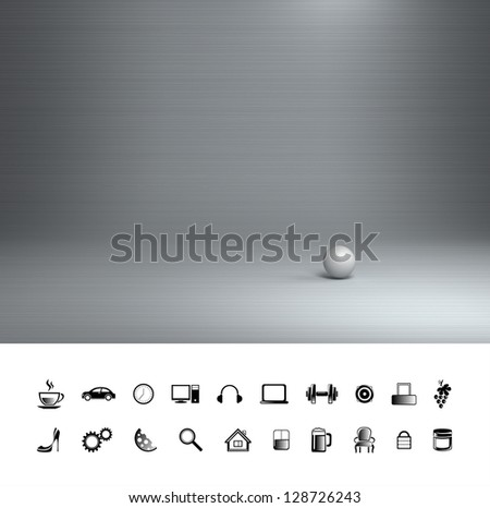 Creative steel background. Proffesional photo studio place. - stock photo