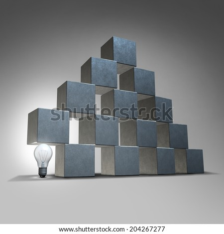 Creative support and business marketing partnership concept as a group of three dimensional cubes being supported by a lightbulb as a symbol of company backing from innovative leadership solutions. - stock photo
