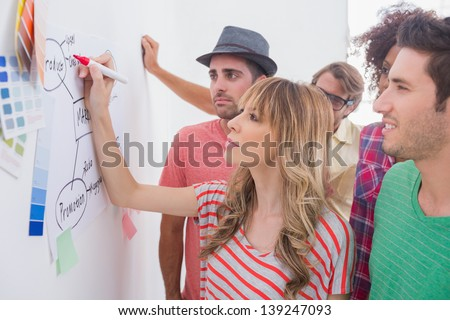 Creative team watching coworker add to flowchart on whiteboard with colour samples - stock photo