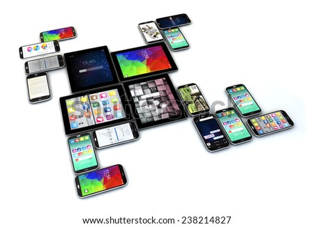 Creative technology business concept: group of tablets and touchscreen smartphones isolated on white background - stock photo