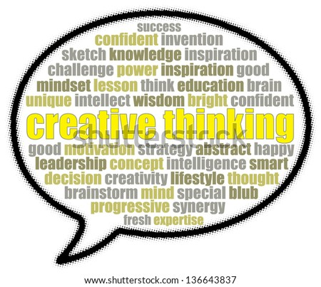 Creative thinking in speech bubble - stock photo