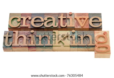 creative thinking - isolated phrase in vintage wood letterpress printing blocks - stock photo