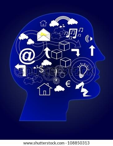 Creative thinking. Learning Process. Human Mind working - stock photo