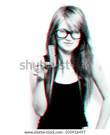 Creative three dimensional photo of a woman wearing 3D glasses while holding movie tickets to the latest cinema motion picture, isolated on white background - stock photo