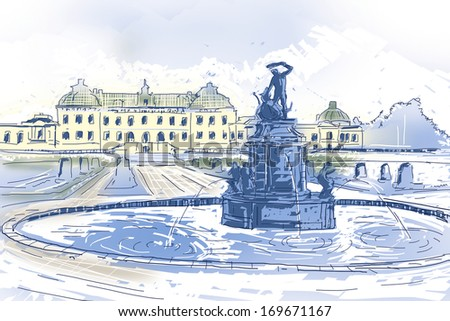 Creative travel landscape Illustration of Drottningholms slott royal palace and fountain on the outskirts of Stockholm, Sweden - stock photo