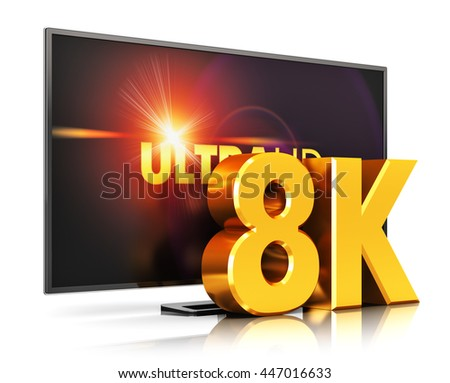 Creative ultra high definition digital television screen technology concept: 3D render illustration of 8K UltraHD resolution TV cinema or computer PC monitor display isolated on white background - stock photo